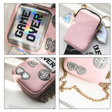 Pink Game over Hologram Cross Body Bag SP1710754