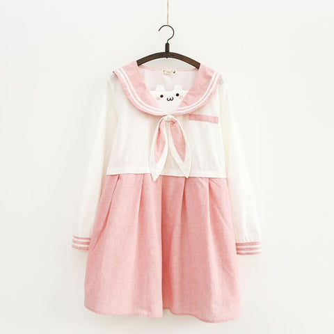 Pink Kawaii Bear Sailor Dress SP1811594