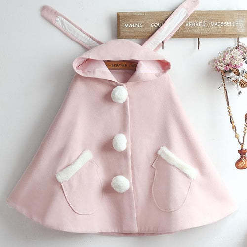 Pink Kawaii Bunny Ears Woolen Hoodie Coat SP14399