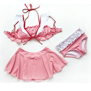 Pink Kawaii Falbala Three-Piece Swimsuit SP13809