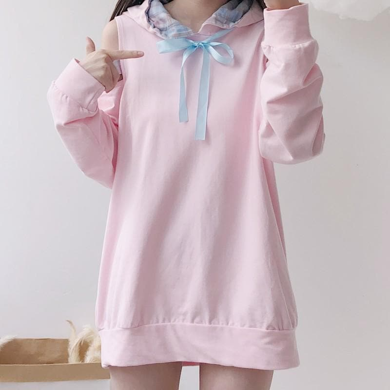 Pink Kawaii Off-Shoulder Hoodie Jumper SP13499