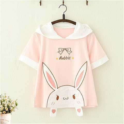 Pink Kawaii Rabbit Hoodie Tee Shirt SP13650