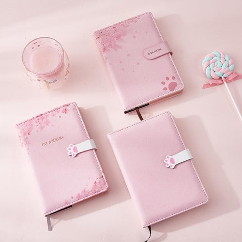 Pink Kawaii Sakura Cat Paws Notebook SP14067