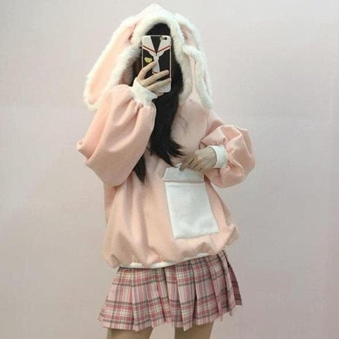 Pink Pastel Fleece Bunny Ears Hoodie Jumper SP1711061