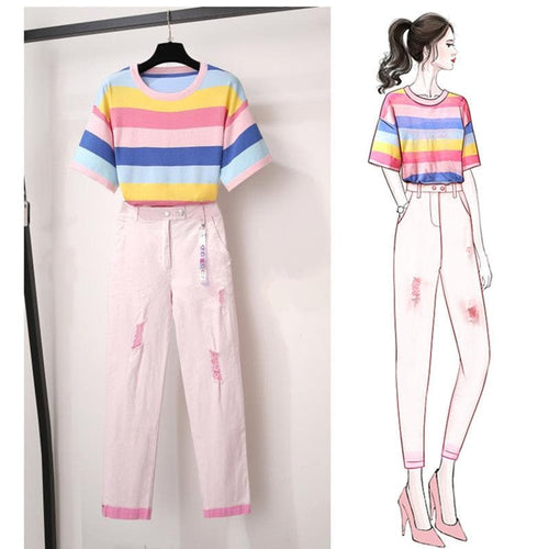 Pink Rainbow Tee-Shirt/Pants Set SP14222