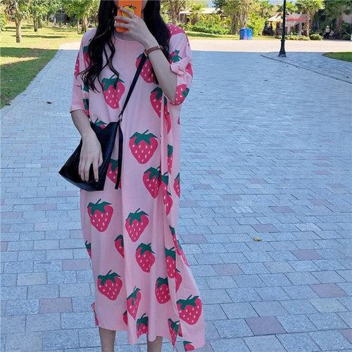 Pink Strawberry Maxi Dress SP13967