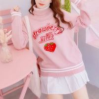 Pink Strawberry Milk Woolen Sweater