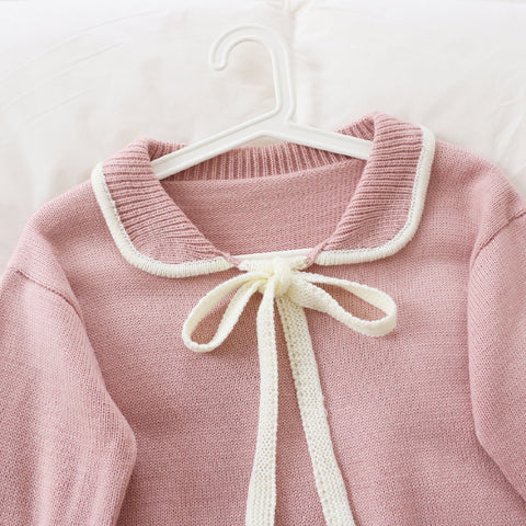 Pink Sweet Bow Collar Knitting Sweater SP1711239