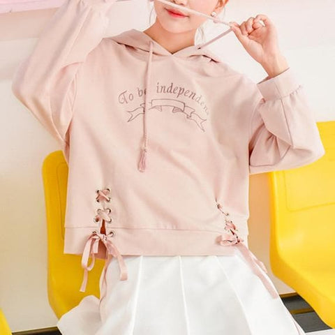 Pink Sweet Independent Hoodie Jumper SP1710866