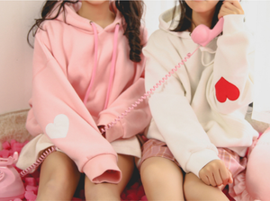 Pink/White Hoodie Thick Pullover SP13203