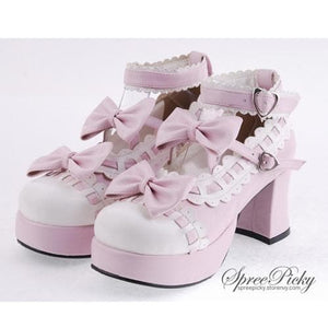 Plus Size Lolita Knotbow Joint Color Platform High Heel SP140531 - SpreePicky  - 4