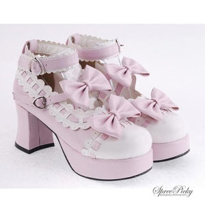 Plus Size Lolita Knotbow Joint Color Platform High Heel SP140531 - SpreePicky  - 1