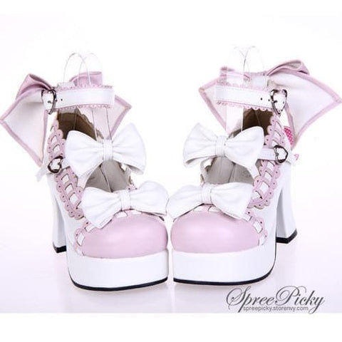 Plus Size Lolita Knotbow Joint Color Platform High Heel SP140531 - SpreePicky  - 2