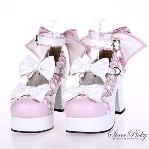 Plus Size Lolita Knotbow Joint Color Platform High Heel SP140531 - SpreePicky  - 3