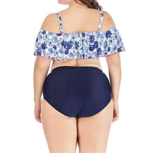Load image into Gallery viewer, Plus Size Sweet Flowers Falbala Two-Piece Swimsuit SP13741