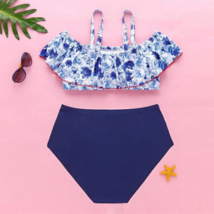 Plus Size Sweet Flowers Falbala Two-Piece Swimsuit SP13741