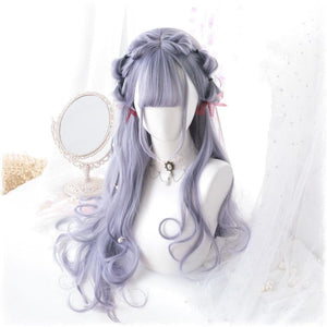 Purple Grey Harajuku Lolita Long Curl Wig SP13658
