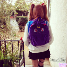 Load image into Gallery viewer, Sailor Moon Luna Fluffy Plush Backpack SP130267 - SpreePicky  - 5