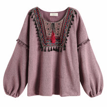 Load image into Gallery viewer, Purple Retro Embroidery Pullover Sweater SP1711148