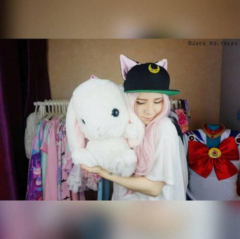 Black/White Sailor Moon Luna/Artemis Beanie Kitty Cap Snapback SP153109 - SpreePicky  - 10