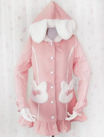Pink/Blue Kawaii Kitty Ear Hoodie Caot SP166837