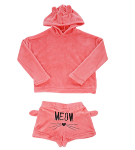 Cute Cat Meow Coral Velvet Two Piece Pajamas S12964
