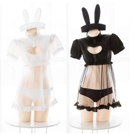 Black/White Kawaii Bunny Heart Hollow Unifrom Lingerie Set SP14111