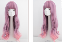 Load image into Gallery viewer, Pink Purple Mixed Color Long Curly Wig SE0715