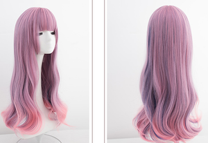 Pink Purple Mixed Color Long Curly Wig SE0715