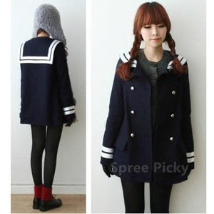 Korean Sailor High Quality Woolen Coat Double Brest SP130220 - SpreePicky  - 2