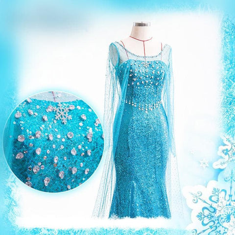[Frozen] Queen Elsa Handmade Cosplay Long Gown SP140594