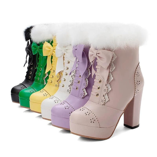 Rabbit Fur Lolita Kawaii Bow Boots SP14452