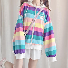 Load image into Gallery viewer, Rainbow Striped Zip Hoodie Jacket SP14530