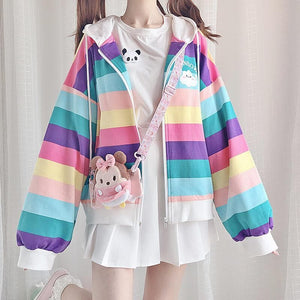 Rainbow Striped Zip Hoodie Jacket SP14530