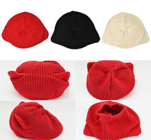Load image into Gallery viewer, Red/Black/Beige Kawaii Kitty Ears Knitting Hat S13029