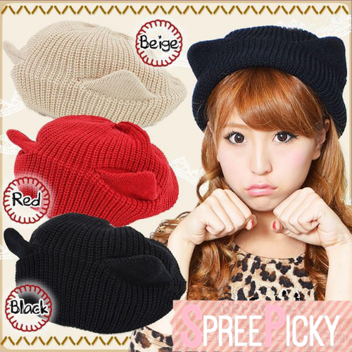 Red/Black/Beige Kawaii Kitty Ears Knitting Hat S13029