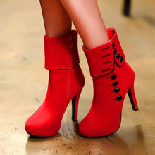 Load image into Gallery viewer, Red/Black Button Velvet High Heels Boots SP14112