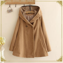 Load image into Gallery viewer, Red/Khaki/Navy Loose Woolen Hoodie Poncho Coat SP1711014