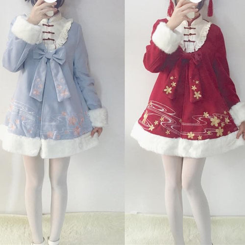 Red/Pink/Blue Kawaii Floral Bow Woolen Coat SP1711358