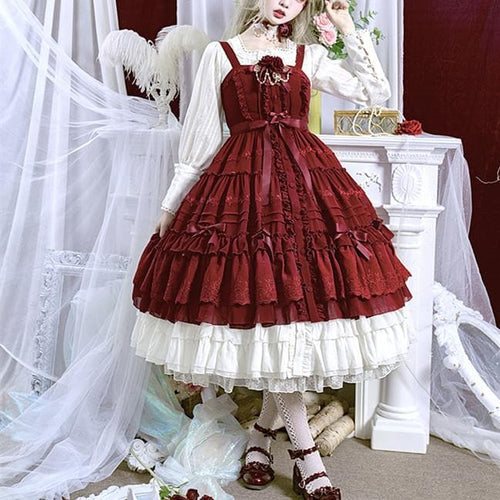 Red/Pink Vintage Falbala Bow Lolita Suspender Dress SP14089