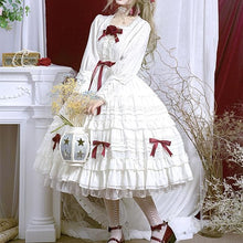 Load image into Gallery viewer, Red/Pink Vintage Falbala Bow Lolita Suspender Dress SP14089