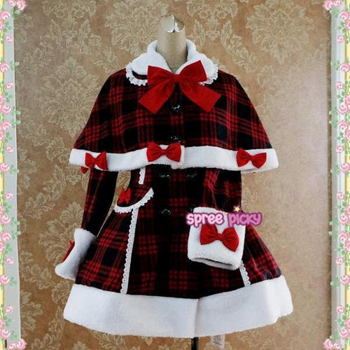 Red Black Grid Lolita Bow Woolen Coat S13129