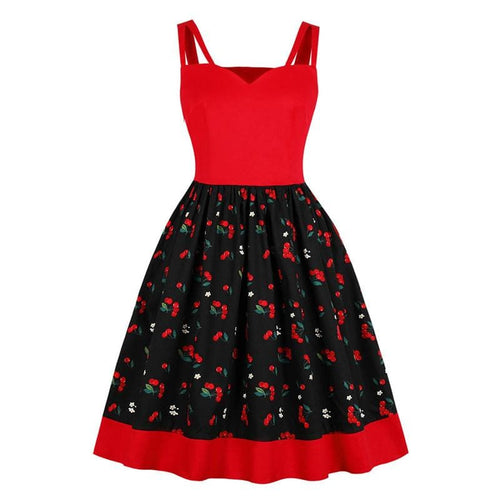 Red Cherry Strap Swing Dress SP13922