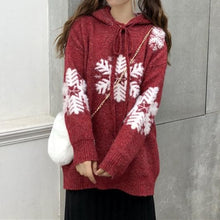 Load image into Gallery viewer, Red Christmas Snowflake Hoodie Sweater S12990