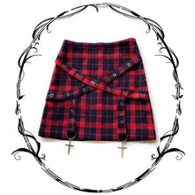 Load image into Gallery viewer, Red Grid Gothic Cross Laced Skirt S12772