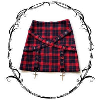 Red Grid Gothic Cross Laced Skirt S12772
