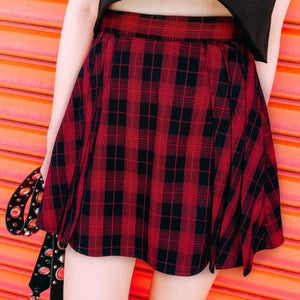 Red Grid Punk High Waist Skirt SP13444