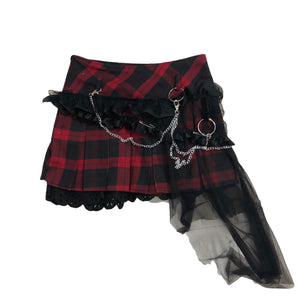 Red Plaid Punk Lace Skirt SP14085