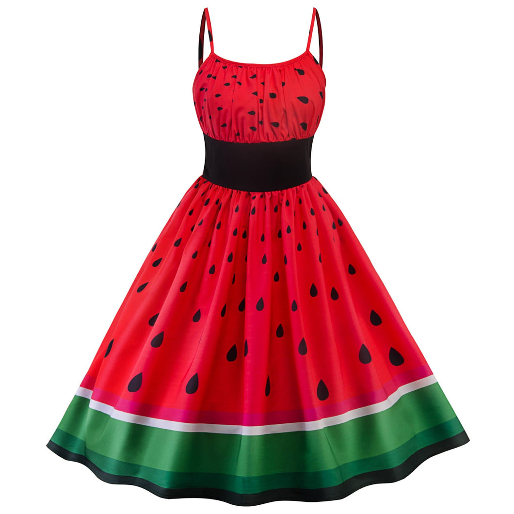 Red Watermelon Patchwork Dress SP13902
