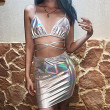 Load image into Gallery viewer, Reflective Hologram Crop Top Set SP14106